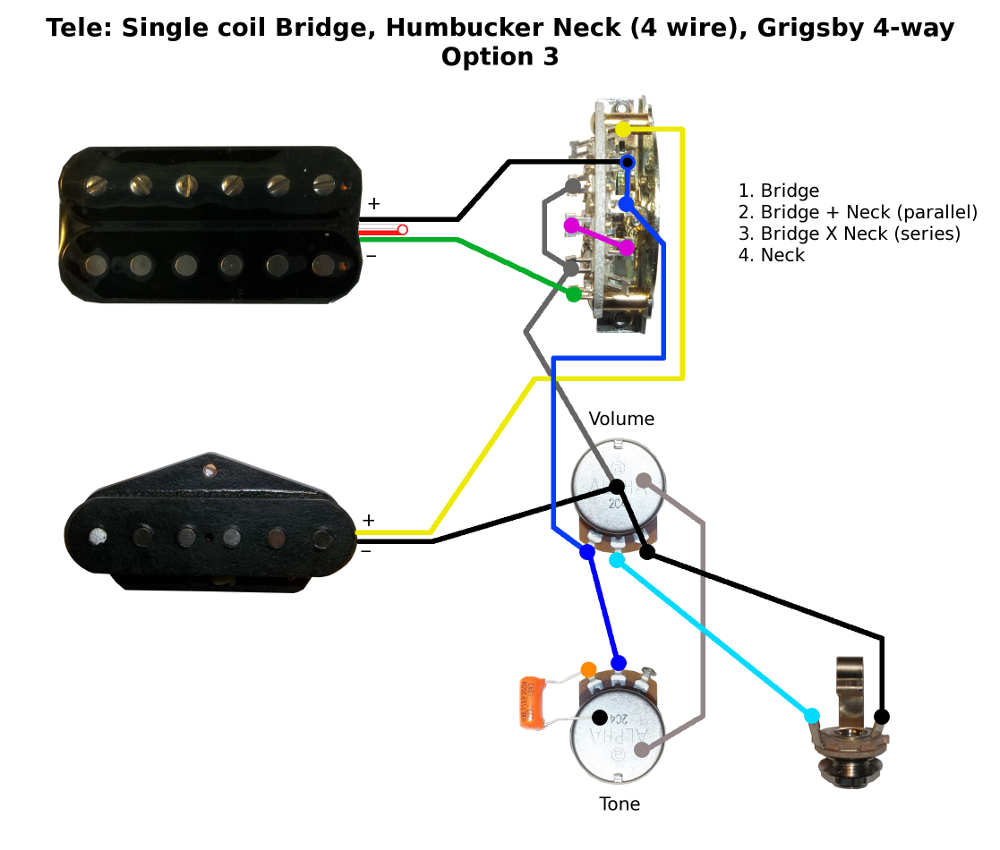 i'd suggest a tele 4-way lever switch with a series/single coil/parallel  mini-toggle switch: