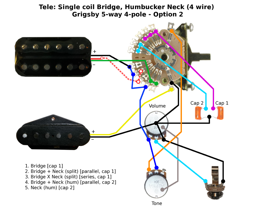 Tele - single coil bridge - humbucker neck wiring